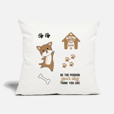 "Set Dog Brown Puppy Paws Cute Sticker Pack - Throw Pillow Cover 18"" x 18"""