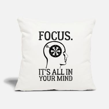 "Target Focus Its All In Your Mind Funny Dart Player Brain - Throw Pillow Cover 18"" x 18"""
