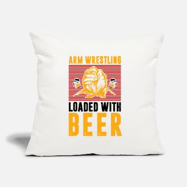 "Armwrestling Arm Wrestling Load With Beer Drinker Wrestler - Throw Pillow Cover 18"" x 18"""