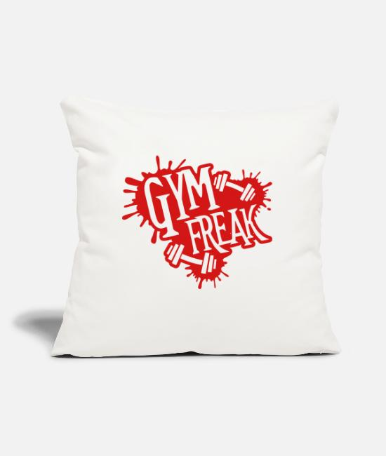 "Barbell Pillow Cases - gym_freak_du1 - Throw Pillow Cover 18"" x 18"" natural white"