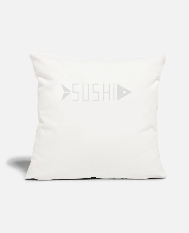 "Food Chain Pillow Cases - Sushi Food - Throw Pillow Cover 18"" x 18"" natural white"