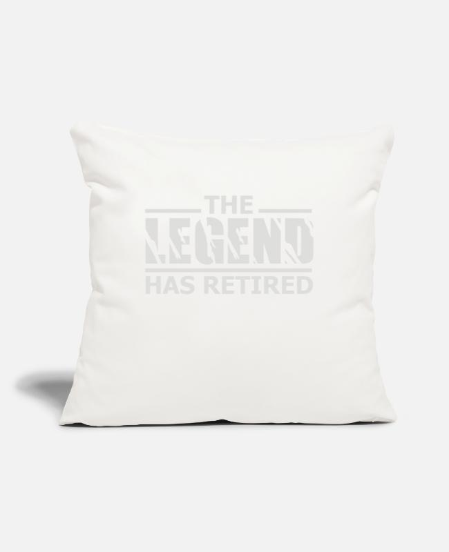 "Legend Pillow Cases - The Legend Has Retired - Throw Pillow Cover 18"" x 18"" natural white"