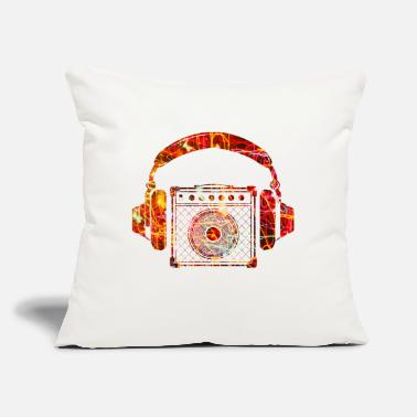 "I Love &amp Amplifier with Headphones Music Design - Throw Pillow Cover 18"" x 18"""