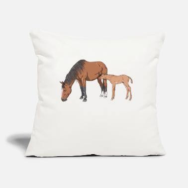 "Mare mare & foal - Throw Pillow Cover 18"" x 18"""