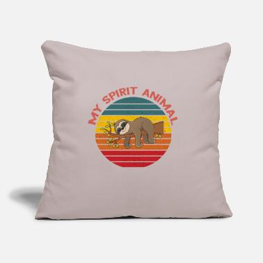 "Pile Sloth is My Spirit Animal Sunset Retro Vintage - Throw Pillow Cover 18"" x 18"""