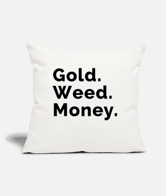 "Drugs Pillow Cases - Gold. Weed. Money. - Throw Pillow Cover 18"" x 18"" natural white"