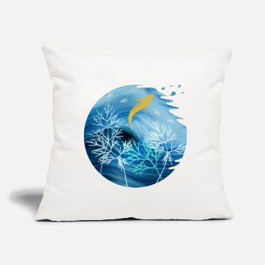 "Nature Sea Planet With Fish - Throw Pillow Cover 18"" x 18"""