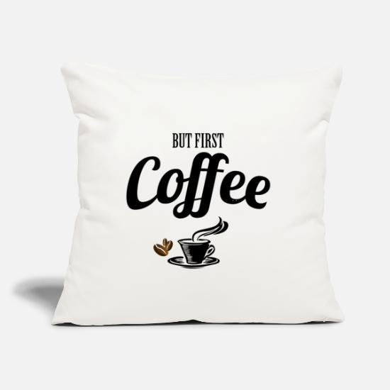 "Typography Pillow Cases - But First Coffee - Throw Pillow Cover 18"" x 18"" natural white"