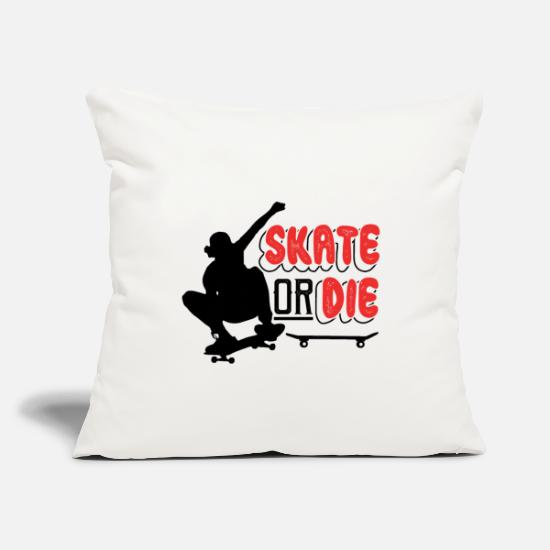 "Sk8 Pillow Cases - Skate Or Die SK8 - Throw Pillow Cover 18"" x 18"" natural white"
