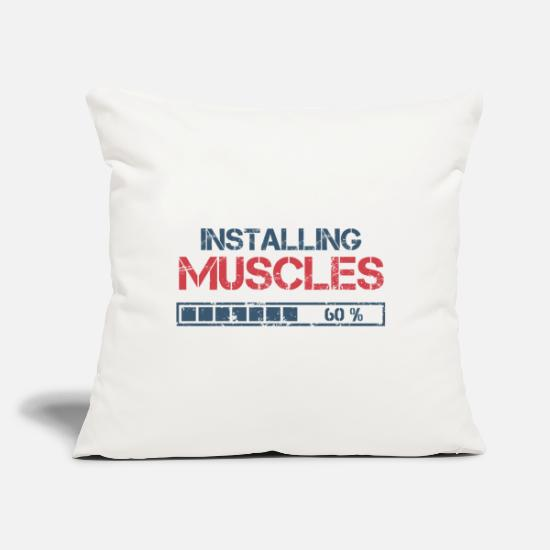 "Body Builder Pillow Cases - Funny Fitness Gift - Throw Pillow Cover 18"" x 18"" natural white"