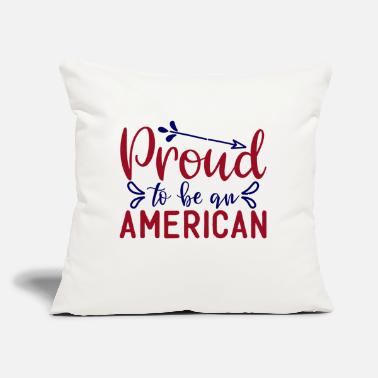 "Bursdag prqud to be an amerlcan - Throw Pillow Cover 18"" x 18"""