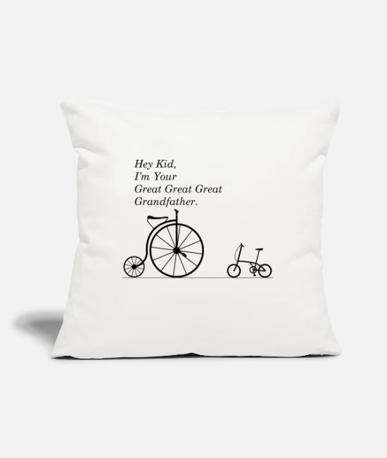 "Grandpa Pillow Cases - GREAT GRANDFATHER OF BIKE - Throw Pillow Cover 18"" x 18"" natural white"