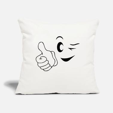 "Happy Face happy face - Throw Pillow Cover 18"" x 18"""