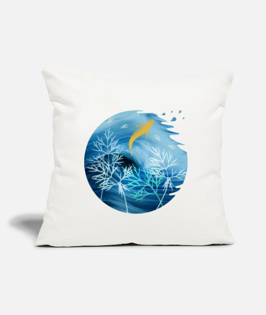 "Nature Pillow Cases - Sea Planet With Fish - Throw Pillow Cover 18"" x 18"" natural white"