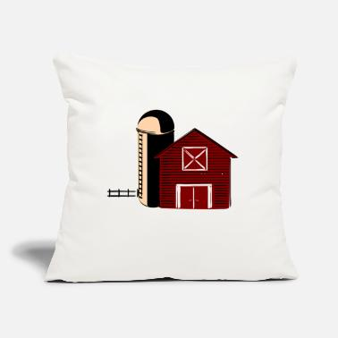 "Barn Barn With Silo - Throw Pillow Cover 18"" x 18"""