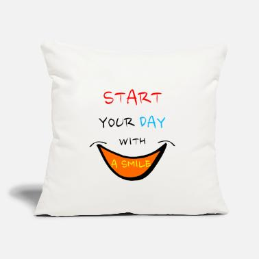 "Sayings sayings saying smile - Throw Pillow Cover 18"" x 18"""