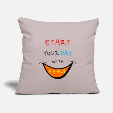 "Saying sayings saying smile - Throw Pillow Cover 18"" x 18"""