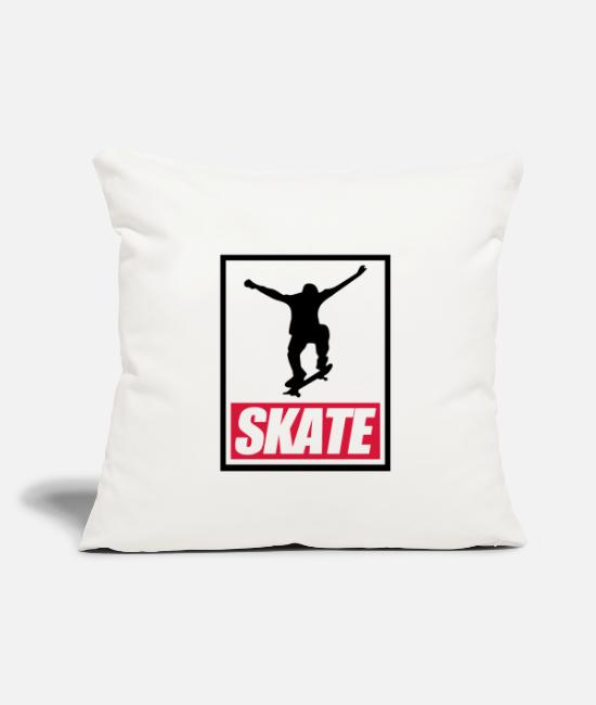 "SK8 Pillow Cases - Skate Skateboarder Skater Gift Sk8 BMX Olli - Throw Pillow Cover 18"" x 18"" natural white"