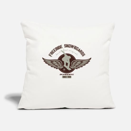 "Freestyle Pillow Cases - Freeride snowboard - Throw Pillow Cover 18"" x 18"" natural white"