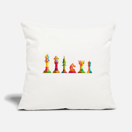 "Chess Pillow Cases - Chess T-Shirt, Chess Shirt, Chess Gift, Chess - Throw Pillow Cover 18"" x 18"" natural white"