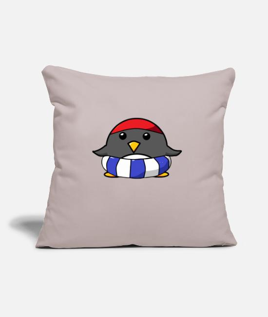 "Mummy Pillow Cases - Lifebelt Penguin with bathing cap Swimming Penguin - Throw Pillow Cover 18"" x 18"" light taupe"
