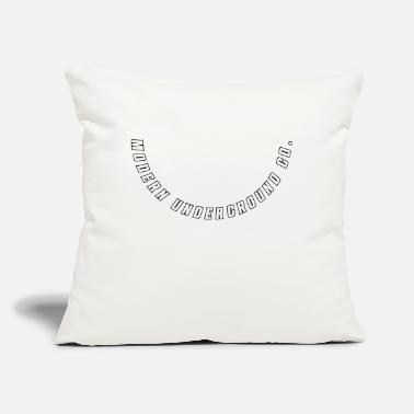 "New Age Modern Underground Co. White Bold Curved Logo - Throw Pillow Cover 18"" x 18"""