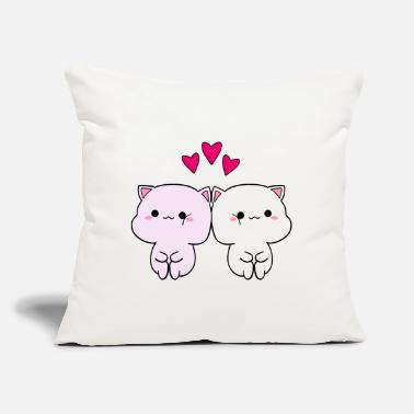 "Little Cute funny Kawaii sweet baby kittens in love - Throw Pillow Cover 18"" x 18"""