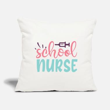 "Pink School Nurse Pink Blue Women's Typography - Throw Pillow Cover 18"" x 18"""