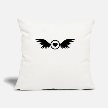 "circle heart with wings - Throw Pillow Cover 18"" x 18"""