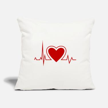 "Heart Rate Heart with heart rate - Throw Pillow Cover 18"" x 18"""
