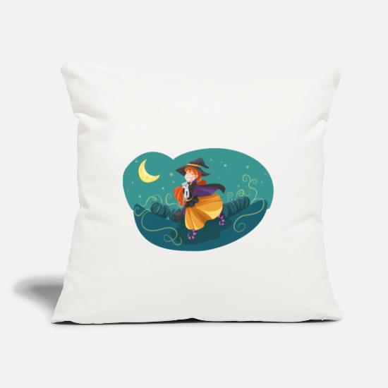 "Witches Broom Pillow Cases - witch - Throw Pillow Cover 18"" x 18"" natural white"