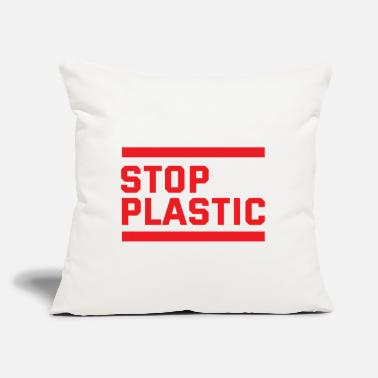 "Plastic stop plastic - say no to plastic - plastic logo - Throw Pillow Cover 18"" x 18"""