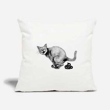 "Lovely Cat &amp Pooping Kitty - Throw Pillow Cover 18"" x 18"""