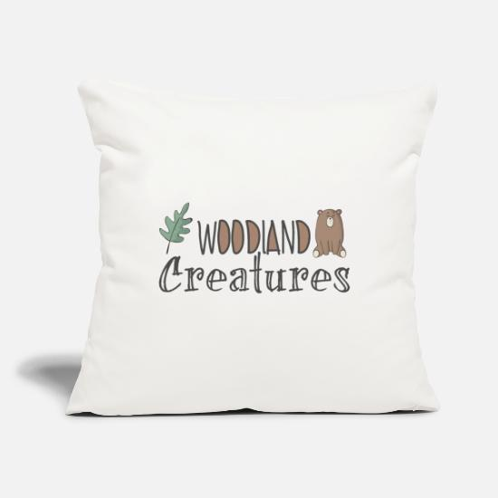 "Gift Idea Pillow Cases - woodiand creatures - Throw Pillow Cover 18"" x 18"" natural white"