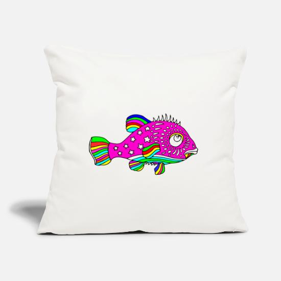 "Fish Pillow Cases - Cool Colors fish - Throw Pillow Cover 18"" x 18"" natural white"