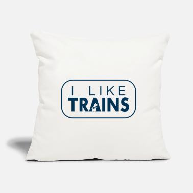 "I like trains a lot - Throw Pillow Cover 18"" x 18"""