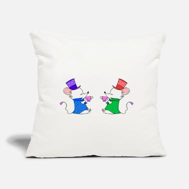 "Comics Tea lovers. Cute funny white mice drinking tea. - Throw Pillow Cover 18"" x 18"""