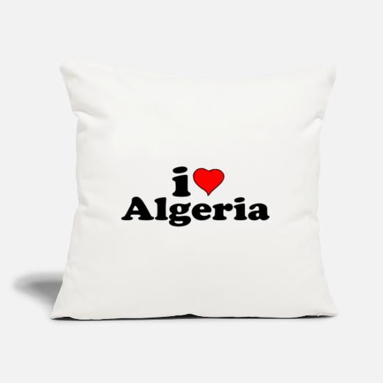 "New Pillow Cases - I love Algeria - Throw Pillow Cover 18"" x 18"" natural white"