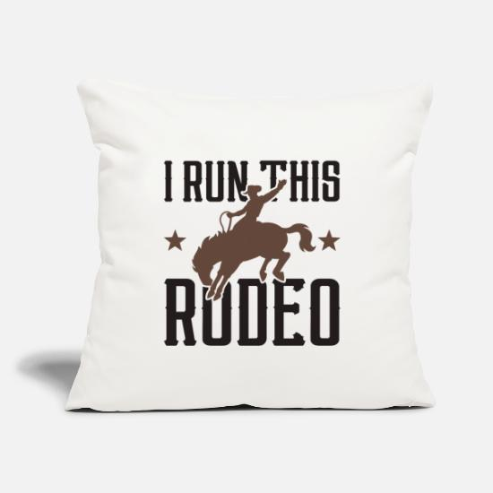 "Owner Pillow Cases - I Run This Rodeo - Throw Pillow Cover 18"" x 18"" natural white"