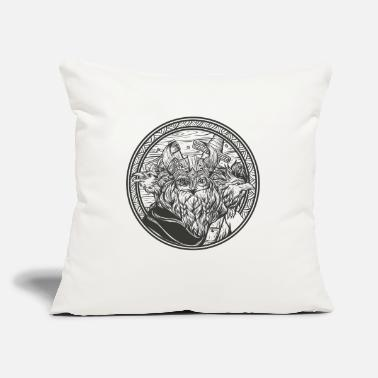 "Norman Thelwell Odin and his ravens - Throw Pillow Cover 18"" x 18"""