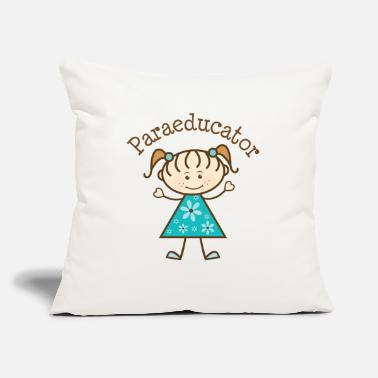 "Lady Stick Figure Paraeducator Stick Figure - Throw Pillow Cover 18"" x 18"""