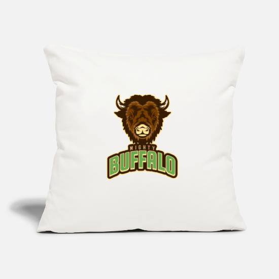 "Gift Idea Pillow Cases - mighty buffalo - Throw Pillow Cover 18"" x 18"" natural white"