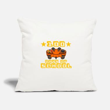 "Video Level 100 Days Of School Completed Awesome Game - Throw Pillow Cover 18"" x 18"""