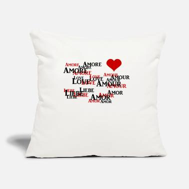 "Love Love Amore Amor Amour Liebe Heart - Throw Pillow Cover 18"" x 18"""