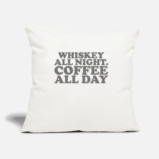 "Coffee Bean Pillow Cases - Whiskey All Night Coffee All Day - Throw Pillow Cover 18"" x 18"" natural white"