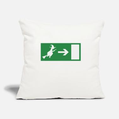 "Emergency Witch emergency exit Halloween - Throw Pillow Cover 18"" x 18"""