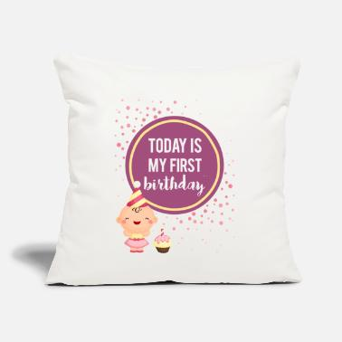 "Baby Baby Girl Milestone First Birthday - Throw Pillow Cover 18"" x 18"""