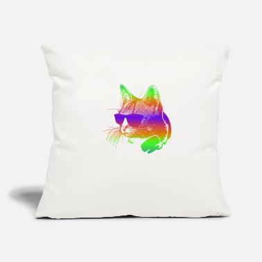 Hardstyle Edm Rave Rainbow Cat With Headphones Gift - Throw Pillow Cover