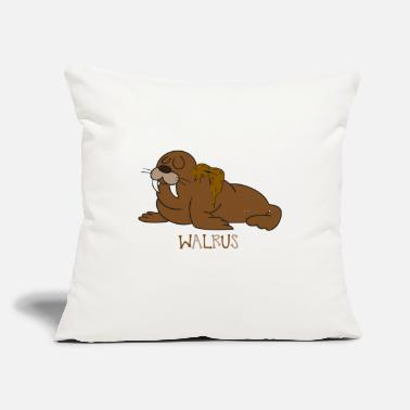 "Ivory Tusks Ocean Animal Funny Walrus - Cartoon Pinniped - Ivory Tusks - Throw Pillow Cover 18"" x 18"""