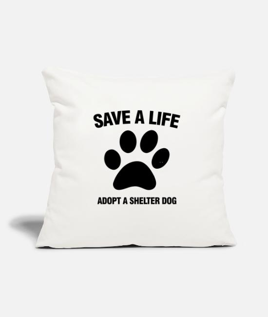 "Animal Shelter Pillow Cases - Adopt A Shelter Dog - Throw Pillow Cover 18"" x 18"" natural white"